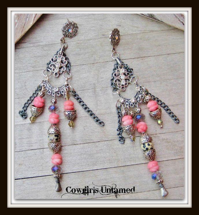 COWGIRL GYPSY EARRINGS Rhinestone Coral Black N Beige Dalmatian Jasper Gemstone Antique Silver Earrings