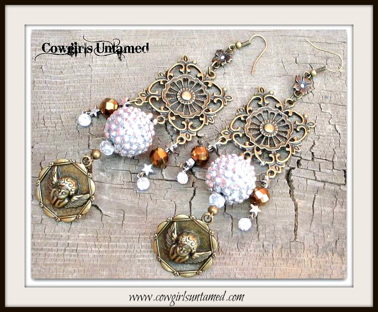 COWGIRL GYPSY EARRINGS Antique Bronze Filigree Brown Crystals Rhinestone Angel Charm Long Earrings