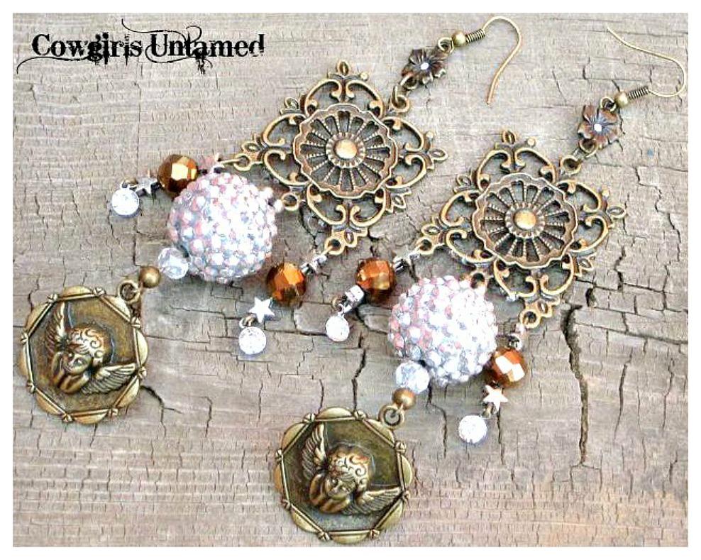 MY ANGEL EARRINGS Antique Bronze Filigree Brown Crystals Rhinestone Angel Charm Long Earrings