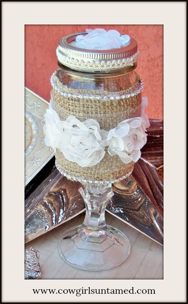FARMHOUSE CHIC DECOR White Lace Ruffle Rosette & Rhinestone Trim Burlap Vintage Style Glass /Candle Holder