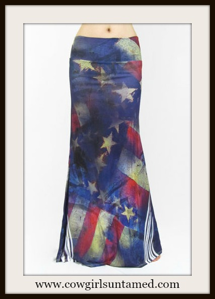 COWGIRL GYPSY SKIRT Distressed American Flag Vintage Look Long A-Line Boho Maxi Skirt