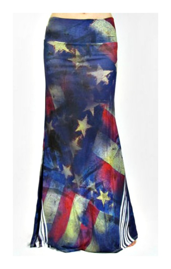 COWGIRL GYPSY SKIRT American Flag Vintage Look Long A-Line Summer Casual Boho Maxi Skirt