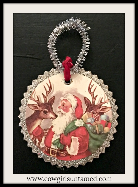 COWGIRL CHRISTMAS DECOR Victorian Santa & Deer Silver Vintage Style Ornament