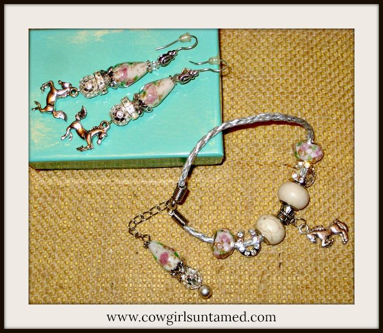 COWGIRL JUNK GYPSY BRACELET SETVintage Rose Rhinestone Horseshoes Ivory Turquoise Horse Bracelet SET