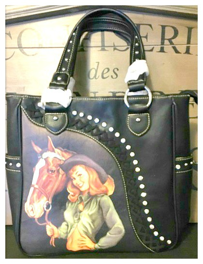 AMERICAN COWGIRL HANDBAG Vintage Cowgirl N Horse Studded Rhinestone Handbag