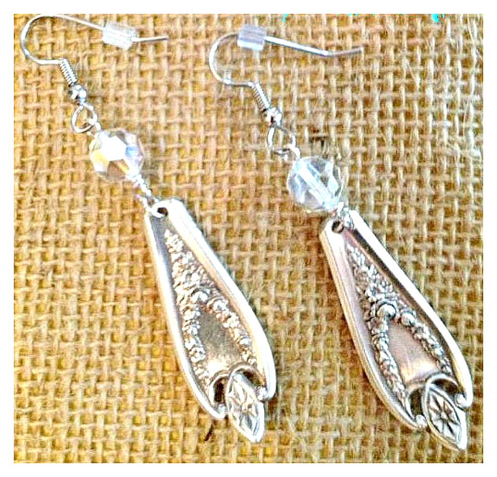 COWGIRL JUNK GYPSY EARRINGS Vintage Floral Upcycled Flatware Crystal Earrings