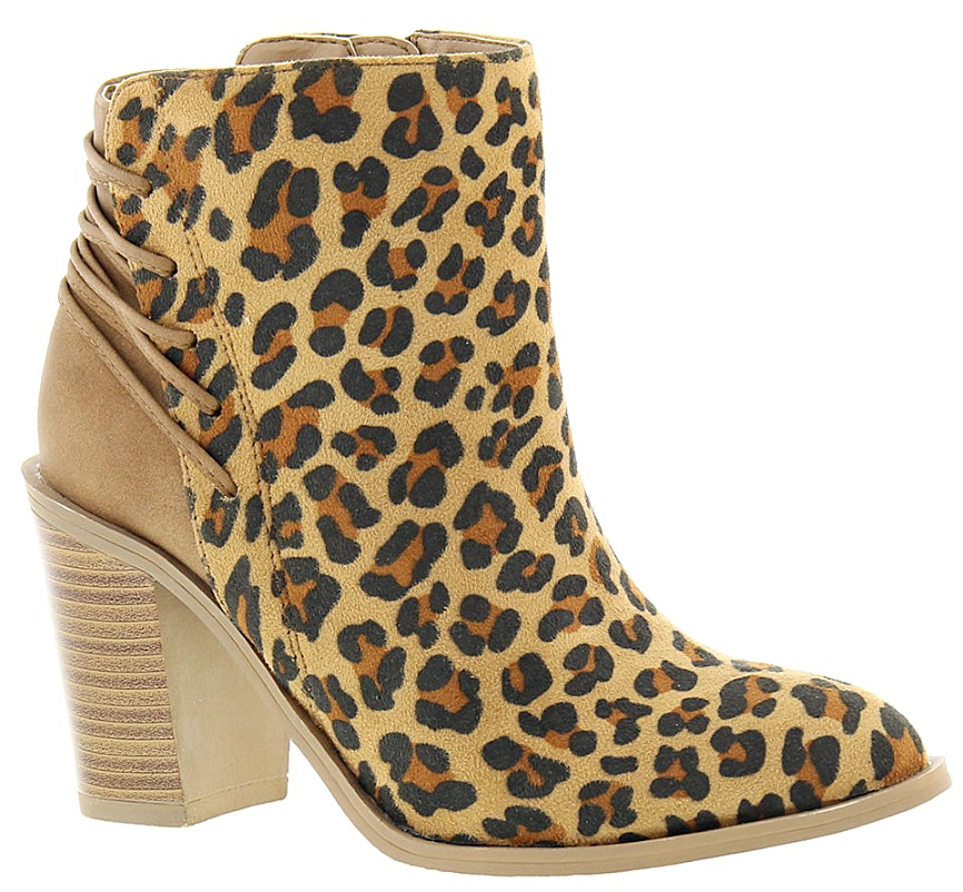 ON THE PROWL BOOTS Strappy Back Leopard Heel Booties
