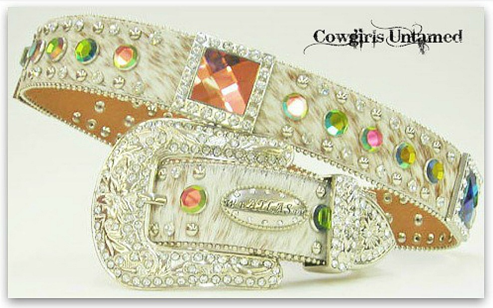 COWGIRL BELT Rhinestone Studded Crystal Concho White Hair on Hide Belt  LAST ONE Med
