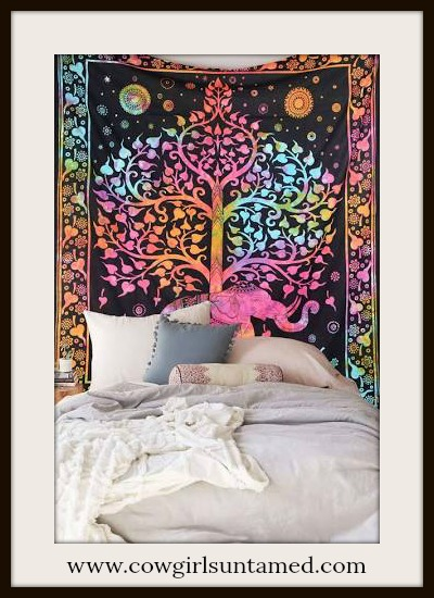 BOHEMIAN HOME DECOR Elephant Tree Floral Tie Dye Cotton Wall Hanging