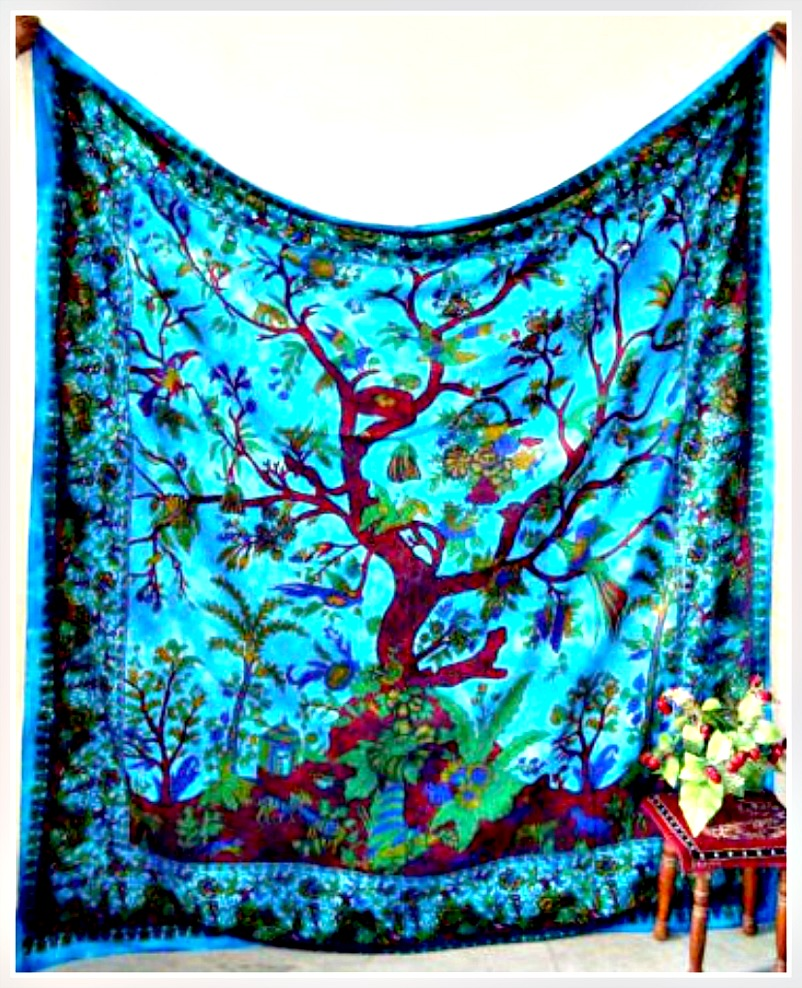 BOHEMIAN HOME DECOR Tree of Life Paisley Cotton Wall Hanging