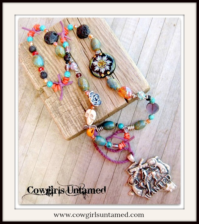 "RODEO REBEL NECKLACE BIG AS TEXAS Antique Silver ""Wanted"" Horse TEXAS Pendant on Skull N' Cross Beaded Necklace"