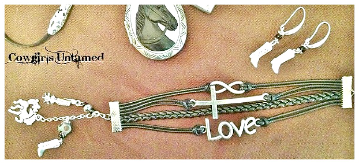 "HORSE LOVIN' COWGIRL BRACELET SET Antique Silver ""LOVE"", Cross Infinity Boot Charm Bracelet N Boot Earring Set"