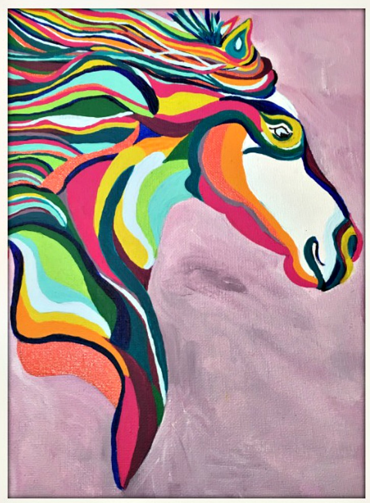 COWGIRL HOME DECOR PAINTING Multi Color Hand Painted Horse Boho Wall Art 9x12
