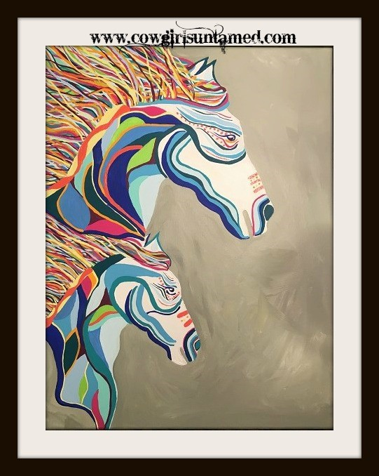 BOHEMIAN COWGIRL PAINTING Lg DBL Multi Color Hand Painted Dbl Horse Boho Wall Art