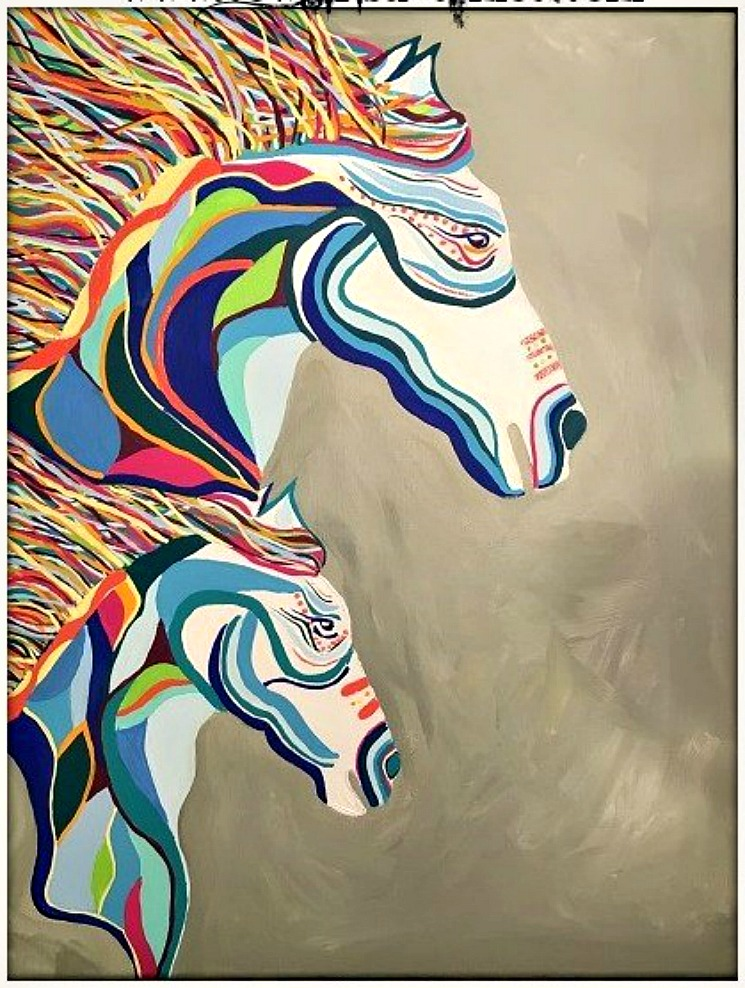 BOHEMIAN COWGIRL PAINTING Large Multi Color Hand Painted Dbl Horse Boho Wall Art