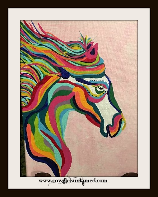 BOHEMIAN COWGIRL PAINTING Multi Color Sml Pink Hand Painted Horse Boho Wall Art
