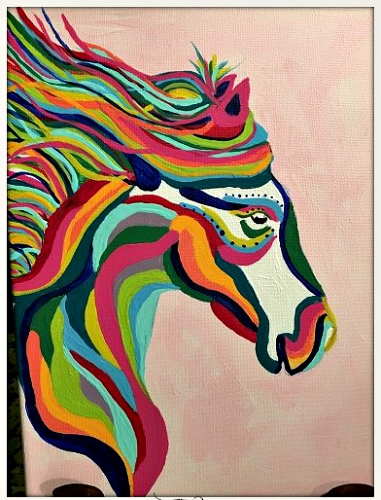 COWGIRL HOME DECOR PAINTING Multi Color Pink Hand Painted Horse Western Wall Art 9 x 12