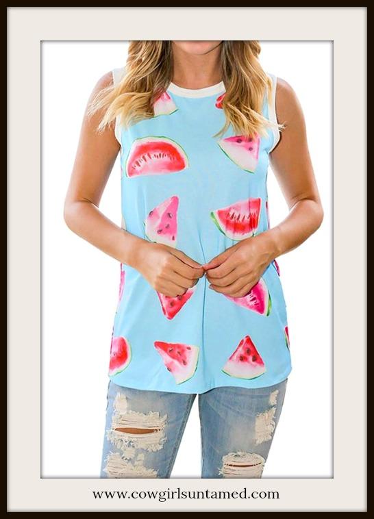 NO PLAIN JANE HERE TOP Pink Watermelon Aqua Blue Sleeveless Top
