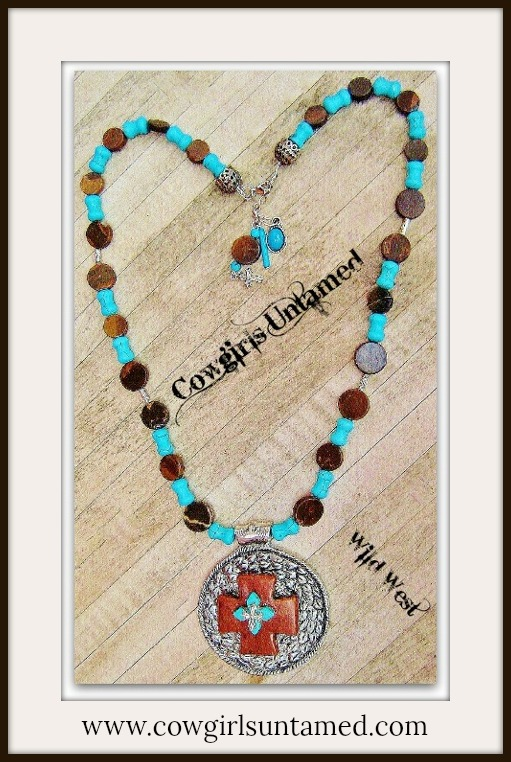 COWGIRL STYLE NECKLACE Antique Silver Brown Turquoise Layered Cross Pendant on Beaded Long Western Necklace