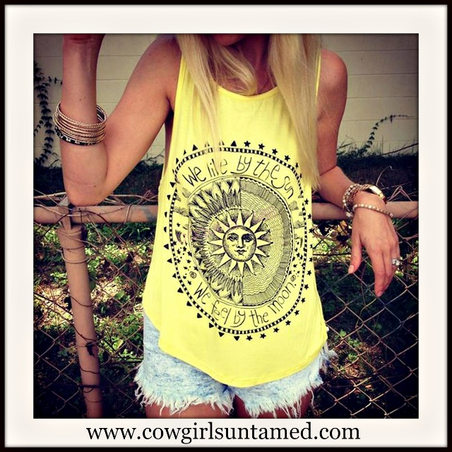 """WILDFLOWER TOP """"We Live By The Sun  We Feel By The Moon"""" Sleeveless Boho Yellow Tank Top"""