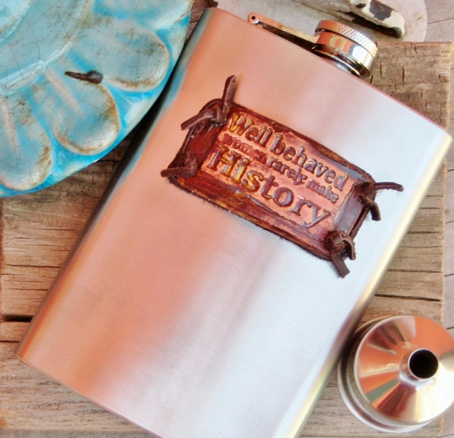 "COWGIRL ATTITUDE DECOR Leather Knotted ""Well Behaved Women Rarely Make History"" Stainless Steel 8oz Pocket Hip Western Flask"
