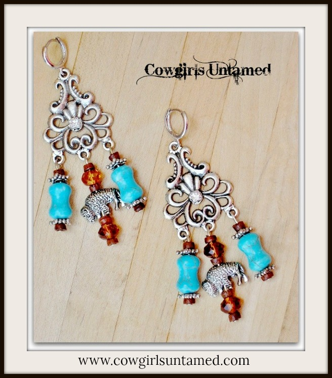 AMERICAN COWGIRL EARRINGS Silver Buffalo Charm Brown Crystal Aqua Turquoise Rhinestone Long Western Earrings
