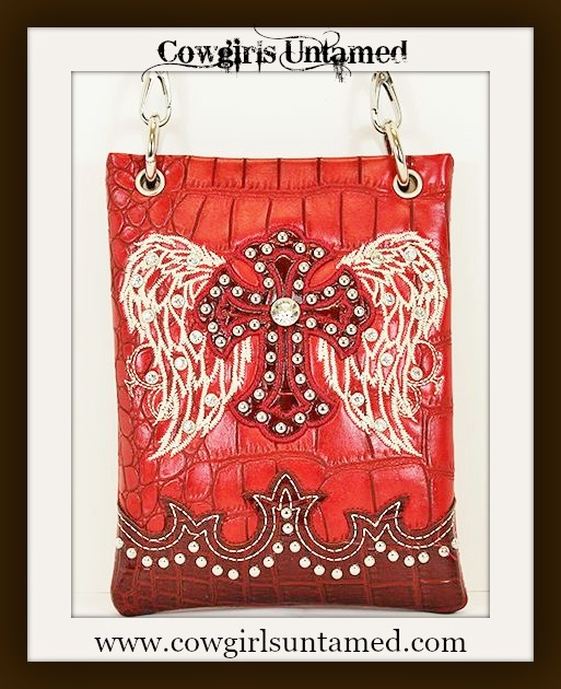 CHRISTIAN COWGIRL PURSE White Embroidered Angel Wings on Rhinestone Studded Cross Red Leather Messenger Bag