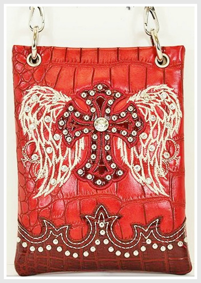 CHRISTIAN COWGIRL PURSE White Embroidered Angel Wings Rhinestone Studded Cross Red Leather Messenger Bag LAST ONE