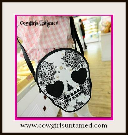 COWGIRLS ROCK PURSE Sugar Skull Heart Messenger Shoulder Handbag