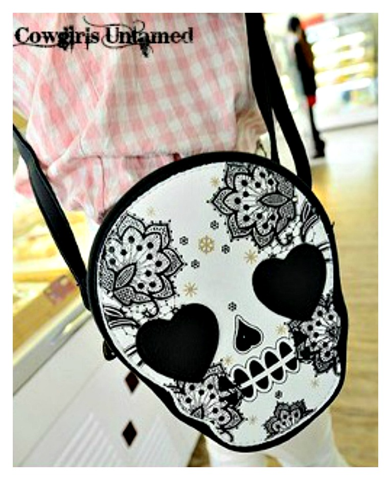 COWGIRLS ROCK PURSE Sugar Skull Heart Messenger Shoulder Handbag