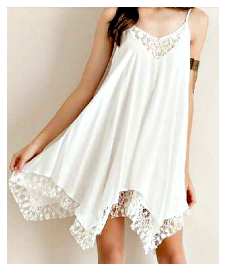 COWGIRL GYPSY DRESS White Chiffon and Lace Handkerchief Hem Mini Dress / Tunic Top