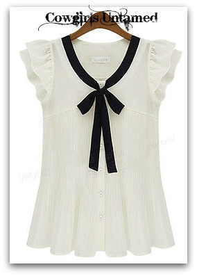 COWGIRL CHIC TOP White Pleated Chiffon Black Bow Ruffle Sleeve Tuxedo Top
