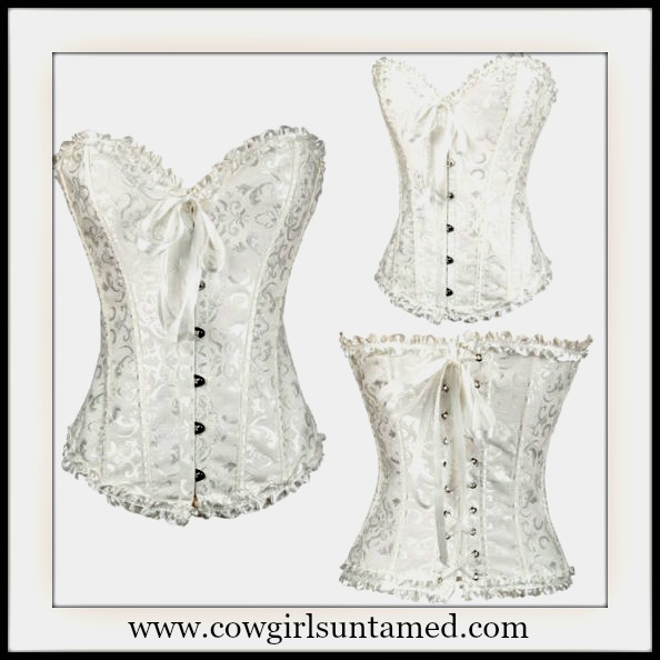 CORSET - Vintage Style White Brocade Waist Cinching Boned Lace Up Back Western Corset with FREE G String