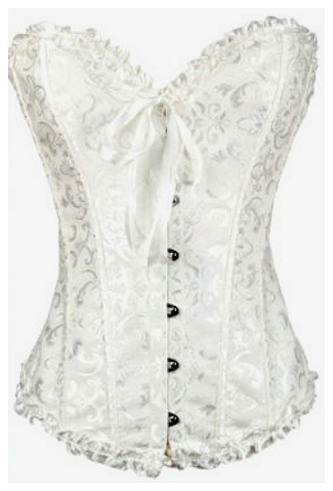 CORSET - Vintage Style White Brocade Waist Cinching Boned Lace Up Back Corset LAST ONES XL & 2X