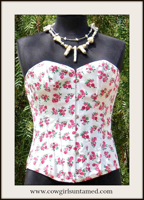 CORSET - Country White Denim Pink Floral Lace up Boned Western Corset Bustier with FREE Thong