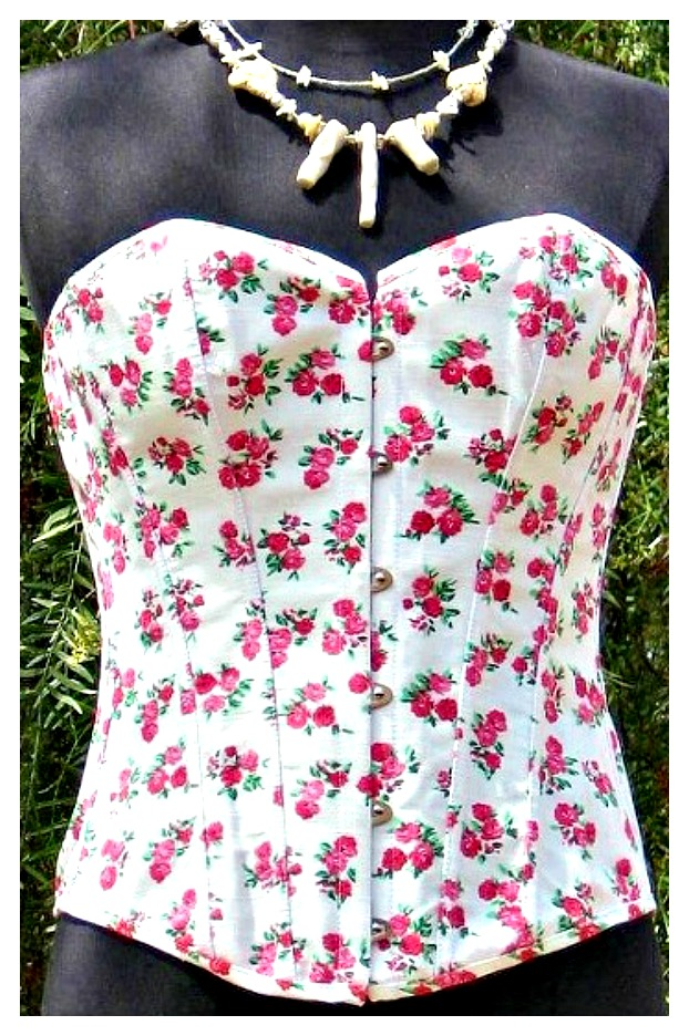 CORSET - Country White Denim Pink Floral Lace up Boned Western Corset Bustier LAST ONE 2X