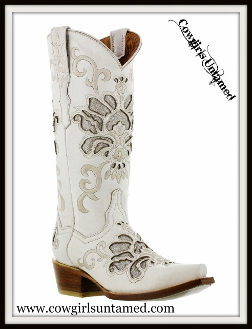COWGIRL STYLE BOOTS Cream Embroidery with Silver Underlay on Soft White LEATHER Boots