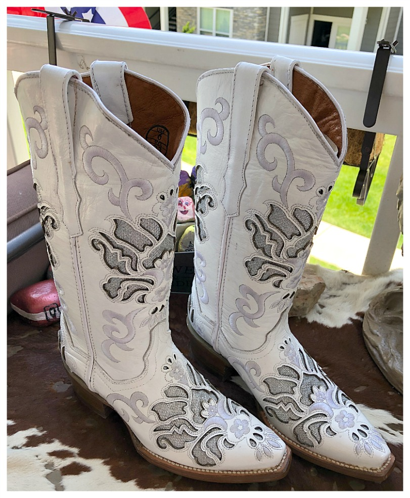 COWGIRL STYLE BOOTS Creamy Silver Embroidery with Silver Underlay on Soft White LEATHER Boots