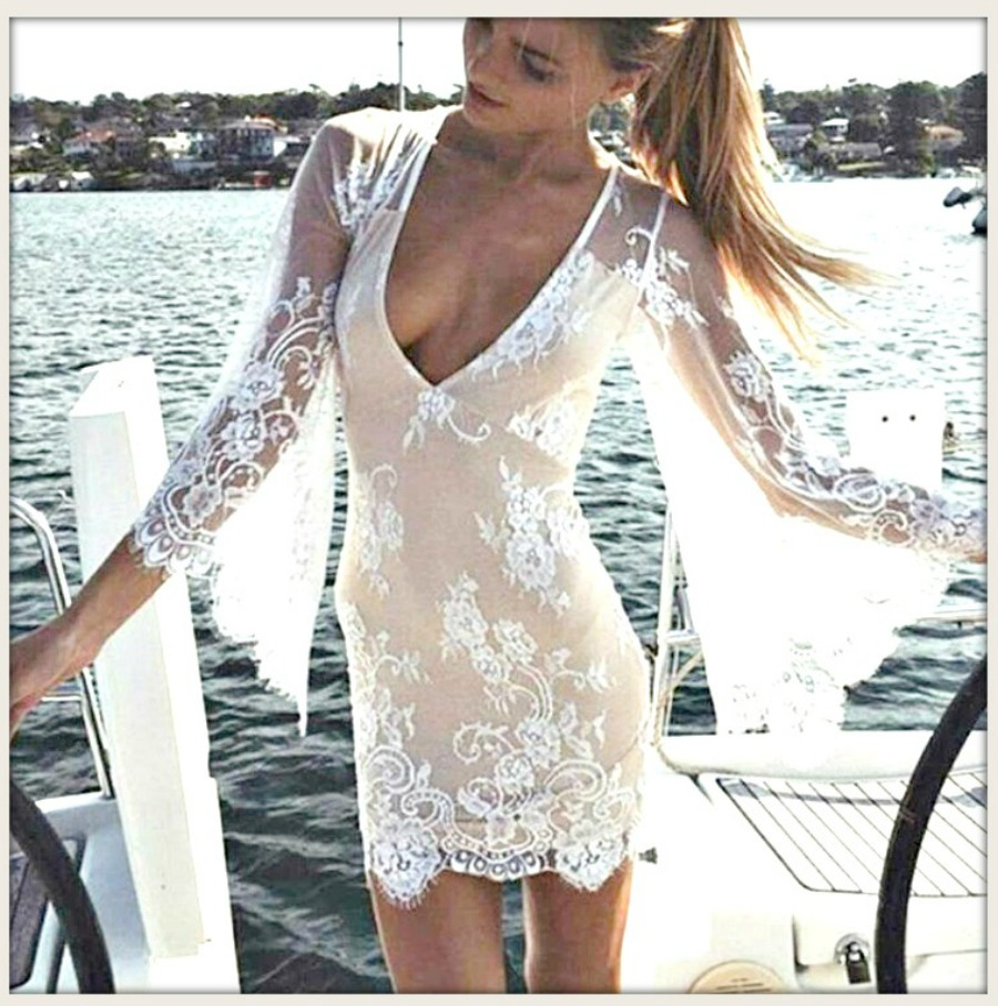 WILDFLOWER DRESS White Lace Deep V Bell Sleeve Zip Back Mini Dress