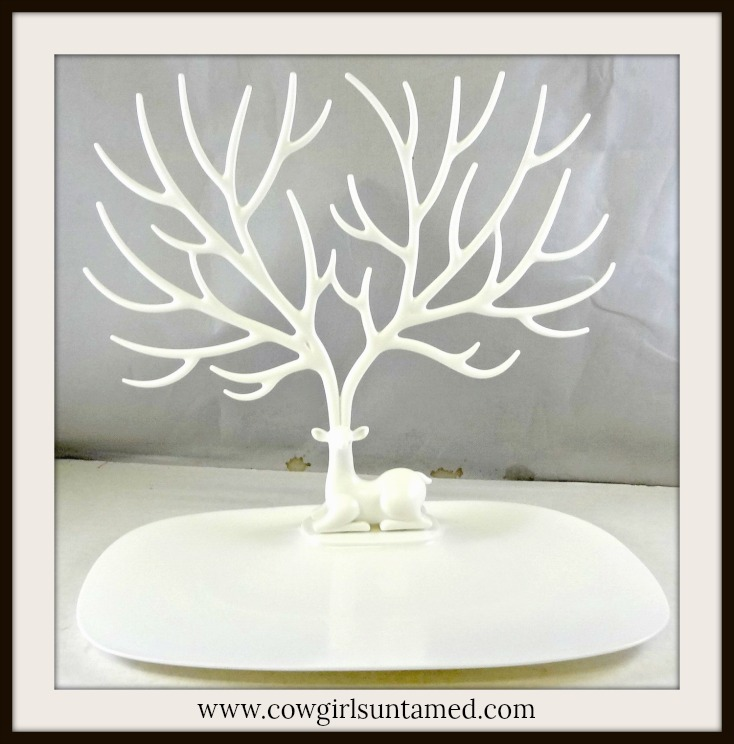 COUNTRY COWGIRL HOME DECOR Soft White Deer with Antlers Jewelry Holder