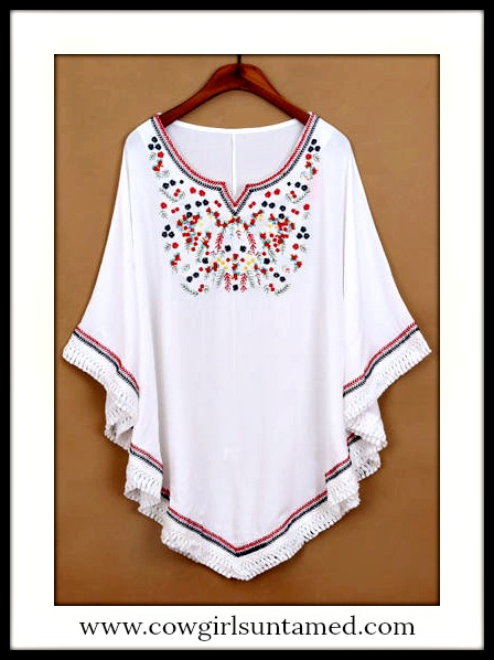 BOHEMIAN COWGIRL TOP Multi Color Embroidered Front Fringe White Boho Top