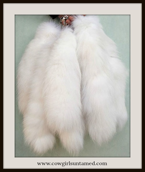 COWGIRL GLAM KEYCHAIN Large White Fox Tail Key Ring Purse Jewelry