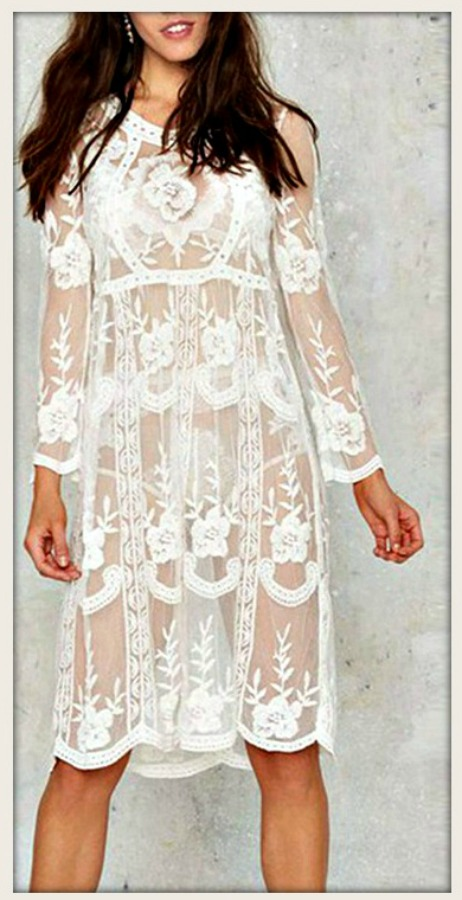 THE PENELOPE DRESS Sheer Off White Crochet Lace Long Sleeve Boho Dress with FREE Nude Slip