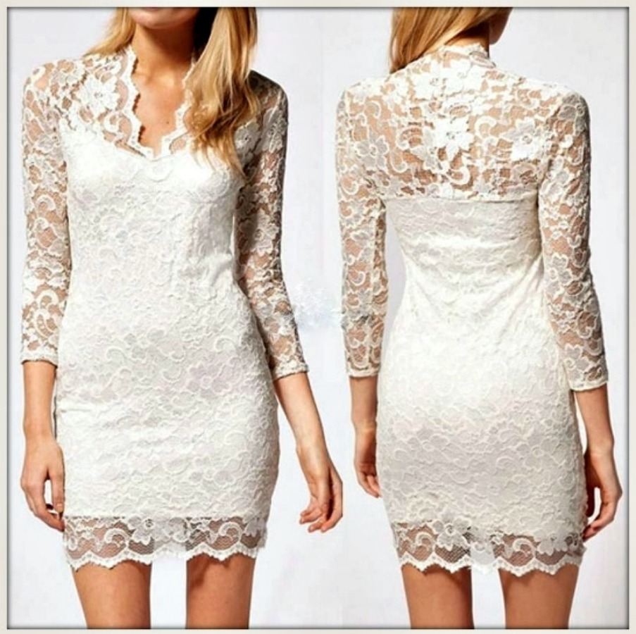 TOUCH OF GLAM DRESS White 3/4 Sleeve V Neck Bodycon Stretchy Lace Dress
