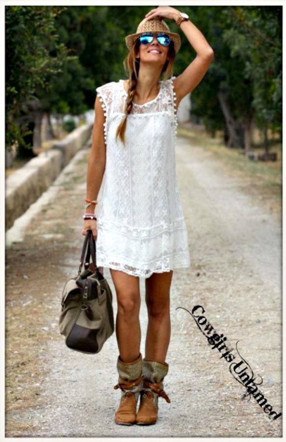 WILDFLOWER DRESS White Crochet Lace Sleeveless Pom Pom Mini Dress