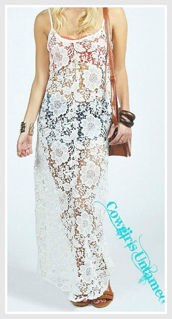 COWGIRL GYPSY COVERUP White Lace Long Maxi Dress Boho Cover Up LAST ONE! ONE SIZE