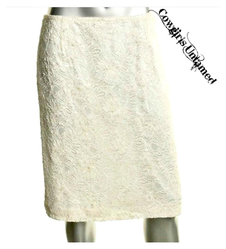 DESIGNER SKIRT Ivory Lace Sequin Covered Designer Pencil Skirt