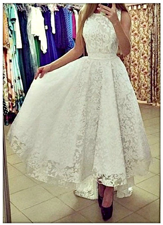VINTAGE APPEAL DRESS White Stretchy Tiered Lace High Low Hemline Sleeveless Dress with FREE Belt