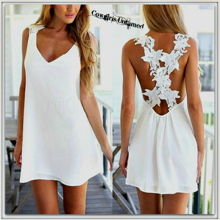c2a582f6062 COWGIRL GYPSY DRESS White FLoral Crochet Lace Criss Cross Back ...