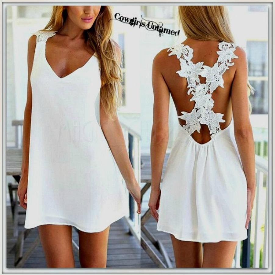 COWGIRL GYPSY DRESS White Floral Crochet Lace Criss Cross Back Chiffon Mini Dress